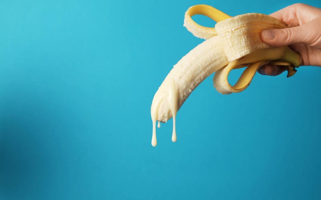 Une banane avec un liquide blanc qui dégouline. Cela symbolise l'éjaculation précoce.